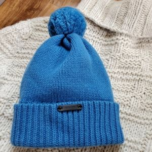 COACH Wool/Cashmere Blue Pom Cap - One Size